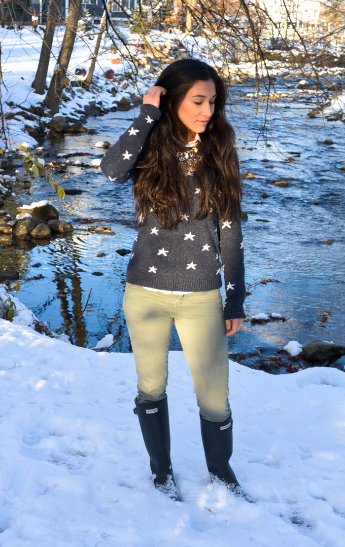 H&M Star Sweater and Hunter Boots