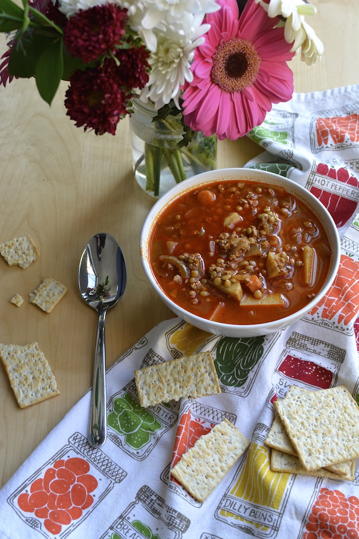 Spicy Lentil and Vegan Chorizo Soup