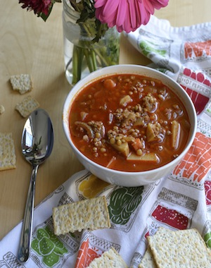 spicy lentil and soy chorizo soup