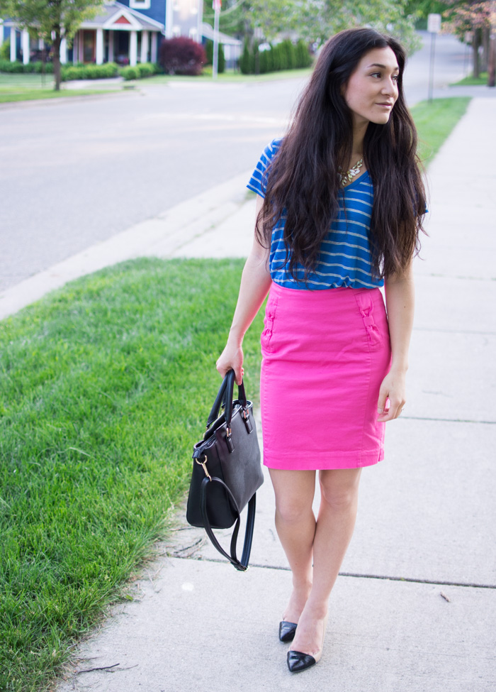 hot pink skirt and striped blue tee
