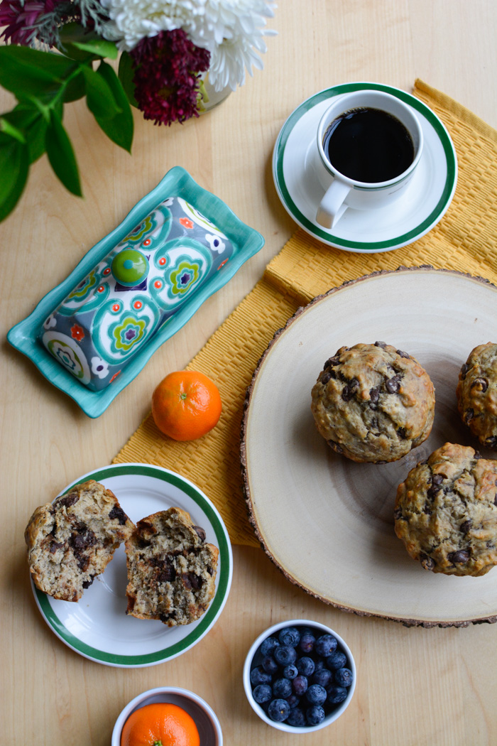 traditional banana chocolate chip muffin