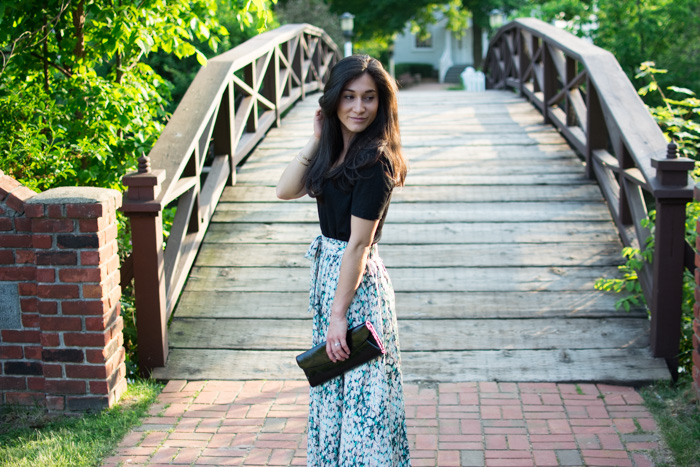 long pastel skirt date night and black tee